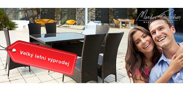 Výprodej! Stůl Malaga s kouřovým sklem a 6 vysokými křesly