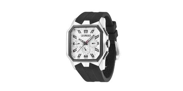 Pánské černo-bílé hodinky s pryžovým řemínkem Police