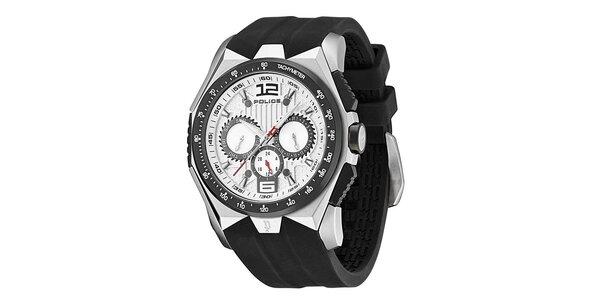 Pánské hodinky s černým silikonovým řemínkem Police