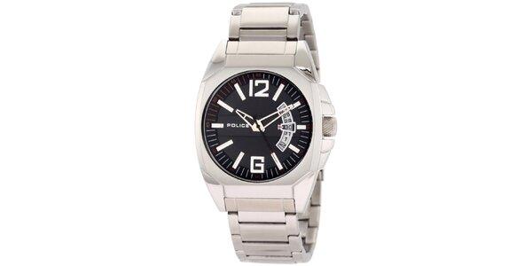 Pánské ocelové hodinky s černým kulatým ciferníkem Police