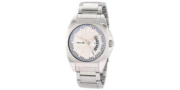 Pánské ocelové hodinky se smetanovým kulatým ciferníkem Police
