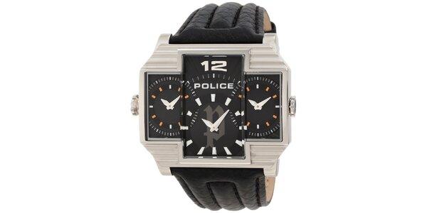 Pánské světlé ocelové hodinky s koženým černým řemínkem Police