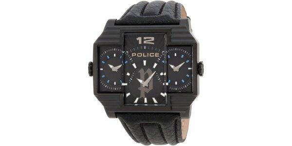 Pánské černé ocelové hodinky s koženým černým řemínkem Police