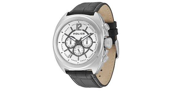 Pánské hodinky s koženým černým řemínkem Police