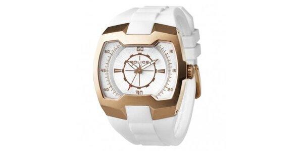 Pánské bílo-zlaté hodinky Police se silikonovým řemínkem