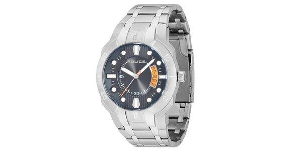 Pánské ocelové hodinky s modrým kulatým ciferníkem Police