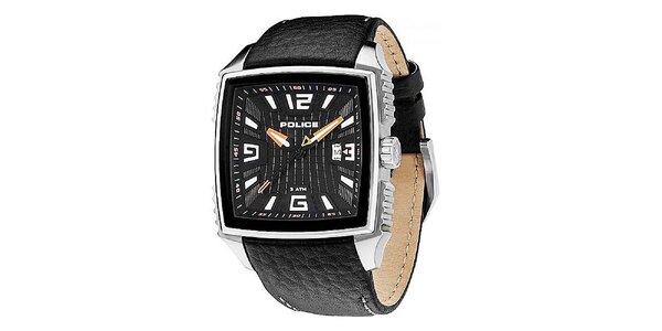 Pánské černé hodinky s koženým řemínkem Police