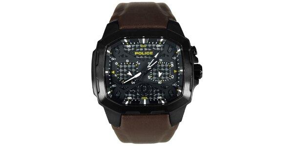 Pánské černo-hnědé ocelové hodinky s koženým řemínkem Police
