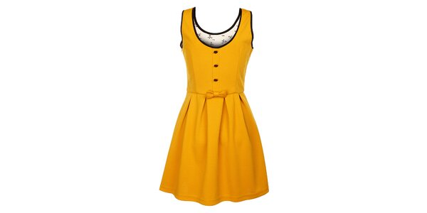 Dámské hořčicové šaty Yumi s ozdobnými patkami