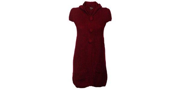 Dámské vínové pletené šaty Yumi s kapucí