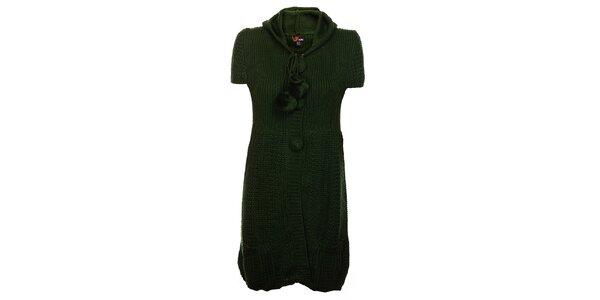 Dámské lahvově zelené pletené šaty Yumi s kapucí a bambulkami