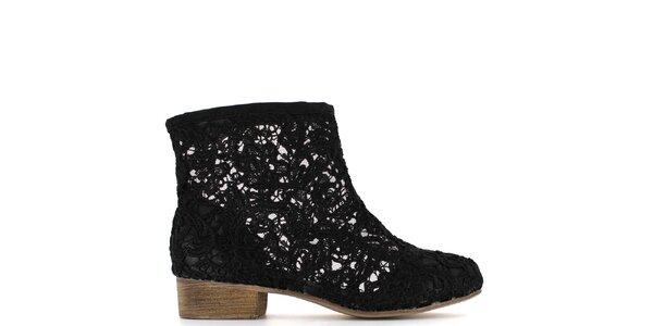 Dámské černé krajkové kotníčkové boty Shoes and the City