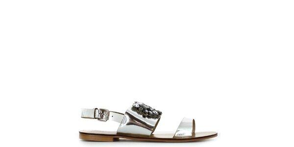Dámské stříbrné nízké sandálky s kamínky Shoes and the City