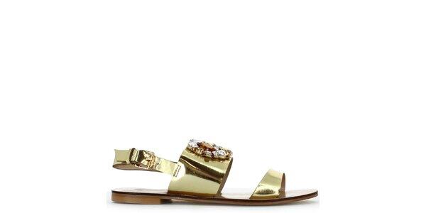 Dámské zlaté nízké sandálky s kamínky Shoes and the City
