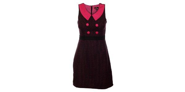 Dámské černé vlněné šaty Yumi s růžovými puntíky