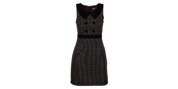 Dámské černé vlněné šaty Yumi s bílými puntíky