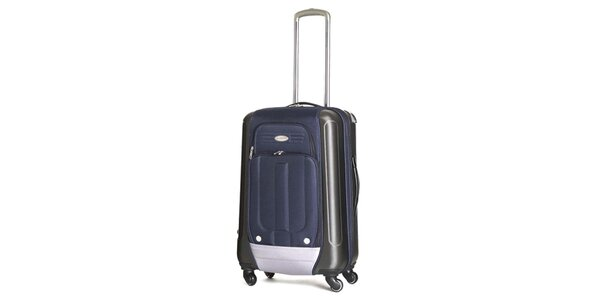 Střední modrý kufr s kolečky Ravizzoni