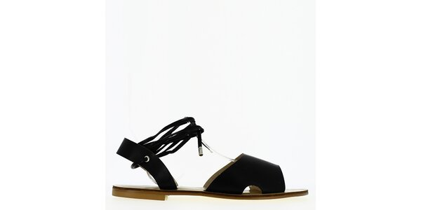 Dámské černé sandálky s tkaničkou Shoes and the City