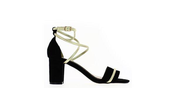 Dámské černé sandálky s blýskavým páskem Shoes and the City