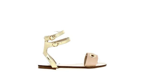 Dámské zlaté sandálky s tělovým páskem Shoes and the City