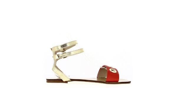 Dámské červeno-zlaté sandálky Shoes and the City