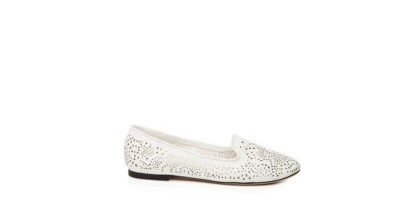Dámské bílé loafers s perforací Keddo