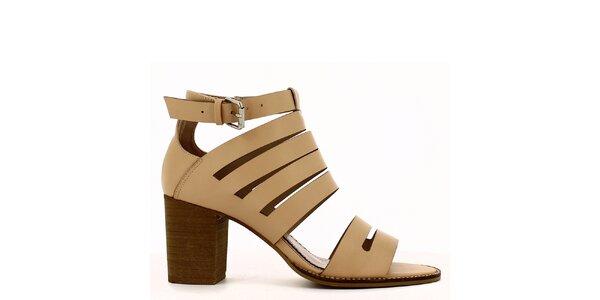 Dámské světlé sandálky na podpatku Shoes and the City