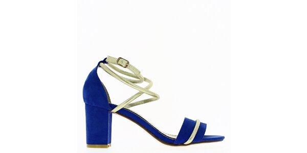Dámské modré sandálky s blýskavým páskem Shoes and the City
