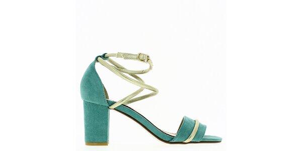 Dámské mint sandálky s blýskavým páskem Shoes and the City