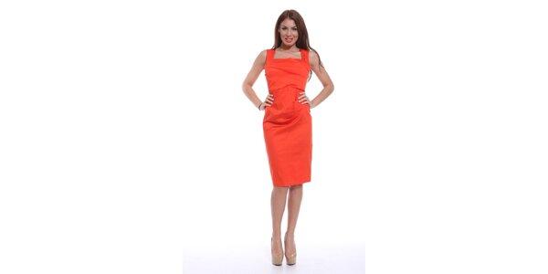 Dámské oranžové šaty bez rukávů Ines