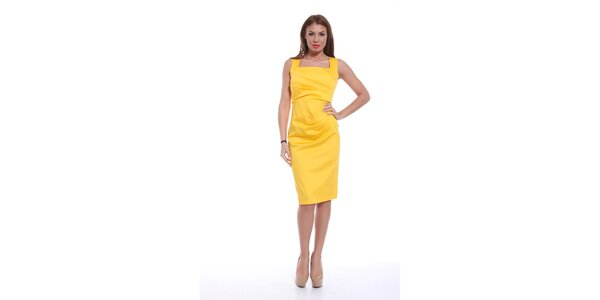 Dámské žluté šaty bez rukávů Ines