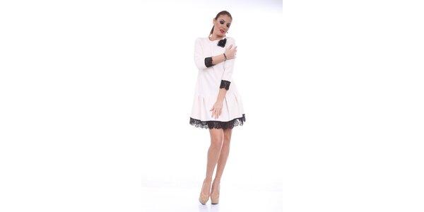 Dámské krémové šaty s černou krajkou Ines