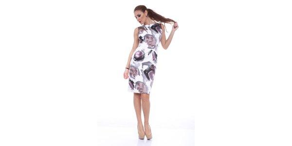 Dámské bílé šaty s potiskem Ines