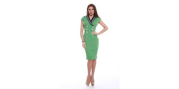 Dámské zelené šaty s knoflíčky Ines