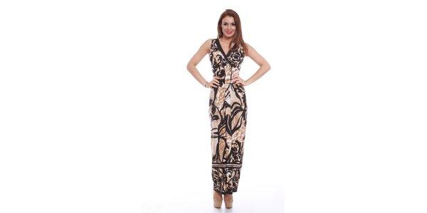 Dámské dlouhé šaty s černo-hnědým potiskem Ines