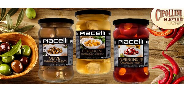 3× nakládané olivy, feferonky a papričky