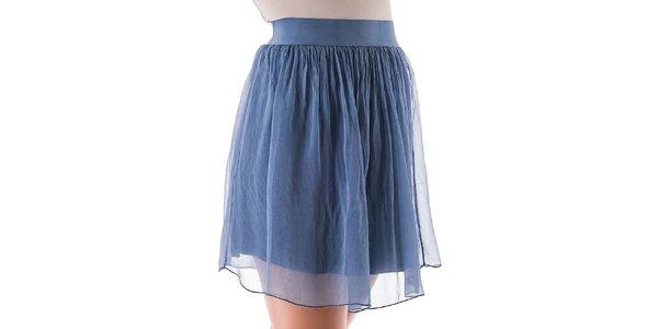 Dámská krátká modrá hedvábná sukně Keysha