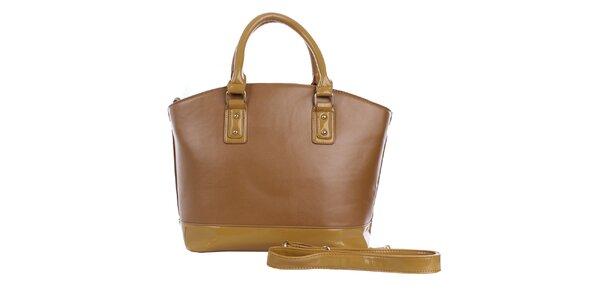 Dámská hnědá kabelka s béžovým pruhem London Fashion
