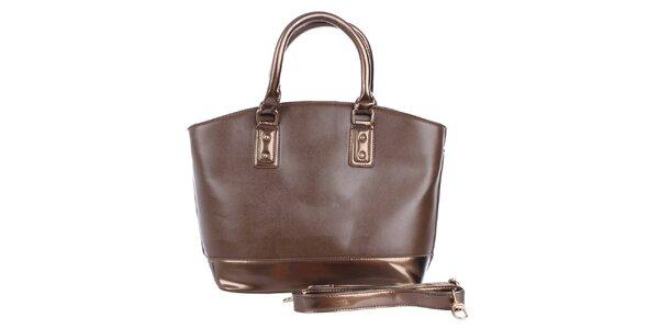Dámská čokoládová kabelka s hnědým pruhem London Fashion