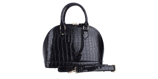 Dámská oblá lesklá černá hadí kabelka London Fashion