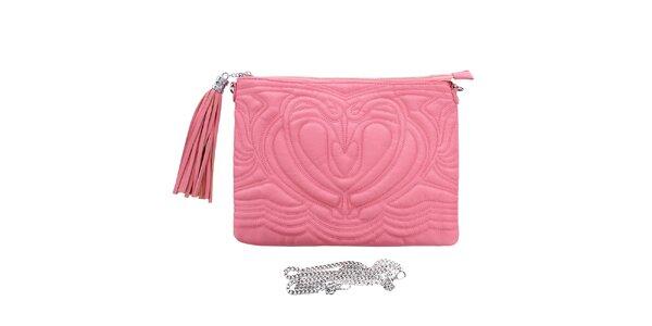 Dámské růžové reliéfní psaníčko s třásní London Fashion