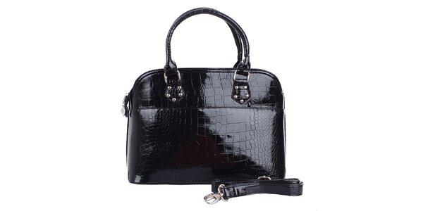 Dámská lesklá černá hadí kabelka London Fashion