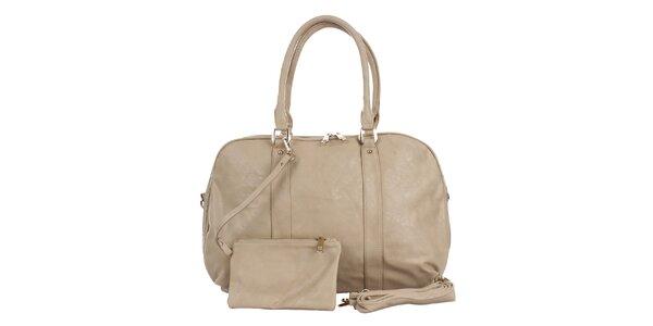 Dámská krémová kabelka s peněženkou London Fashion