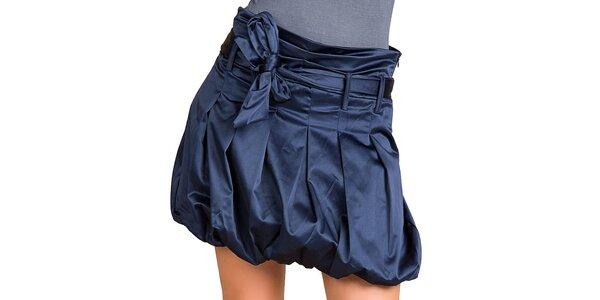 Dámská temně modrá lesklá balonová sukně Keysha