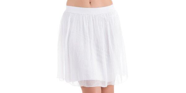 Dámská bílá hedvábná sukně do pasu Keysha
