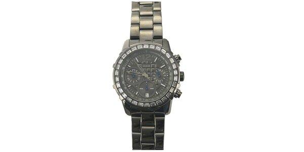 Dámské ocelové hodinky s kamínky na lunetě Guess