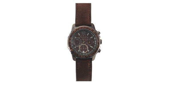 Dámské hnědé hodinky s kamínky na lunetě Guess
