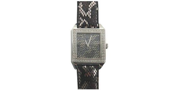 Dámské šedo-černé hodinky s hadím motivem Guess
