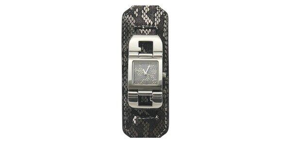 Dámské šedo-černé hodinky s hadím motivem a bytelným páskem Guess