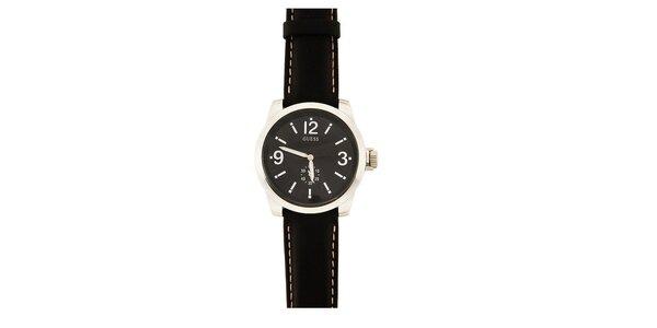 Pánské analogové hodinky s černým koženým páskem Guess